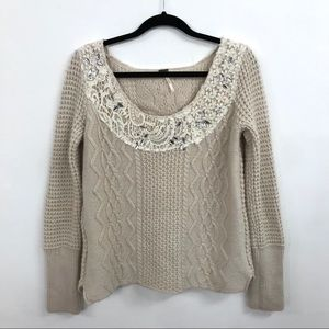 Free People | Cable Knit Sweater w Lace and Jewels
